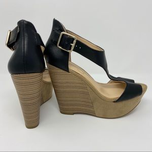 Jessica Simpson Strap Buckle Wedge Sandal Blk 8.5